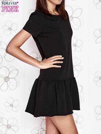 Czarna dresowa sukienka z wycięciem na plecach                                   zdj.                                  3