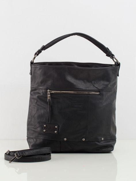 Czarna duża torba z ekoskóry