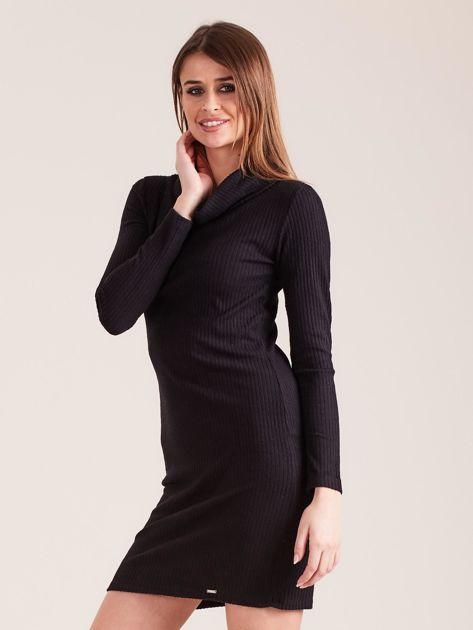 Czarna dzianinowa sukienka z golfem                              zdj.                              3