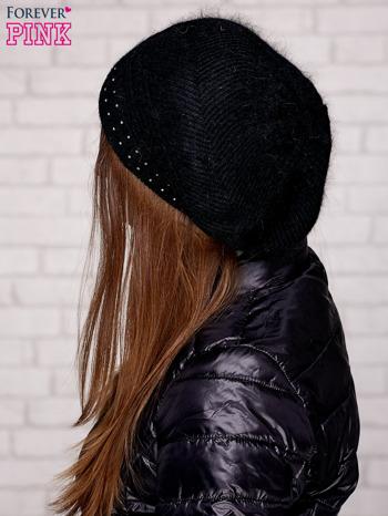 Czarna dziergana czapka z dżetami                                  zdj.                                  2