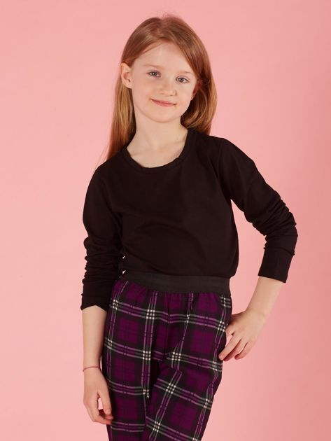 Czarna dziewczęca bluzka basic