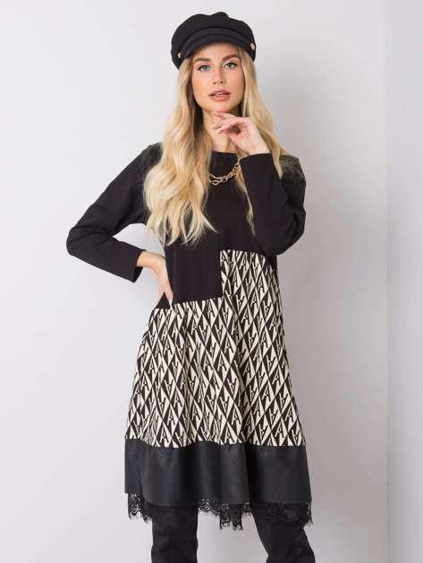 Czarna-ecru sukienka Emilia