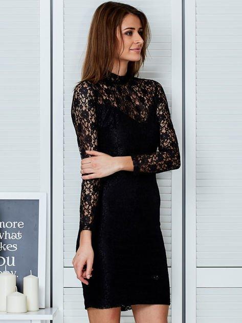 Czarna elegancka koronkowa sukienka                                  zdj.                                  3