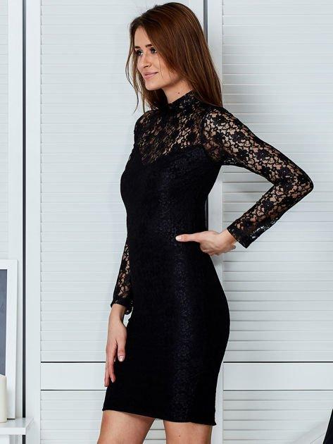 Czarna elegancka koronkowa sukienka                              zdj.                              5