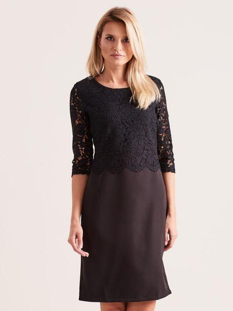 Czarna elegancka sukienka z koronką                              zdj.                              1