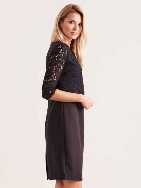 Czarna elegancka sukienka z koronką                              zdj.                              3
