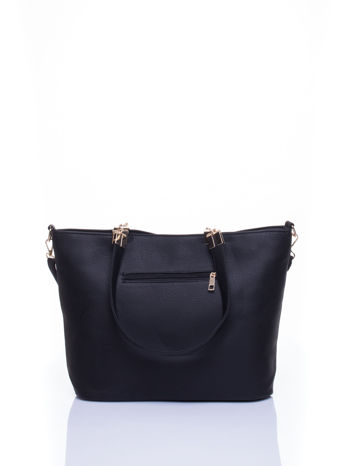 Czarna fakturowana torebka damska ze złotymi okuciami                                  zdj.                                  4