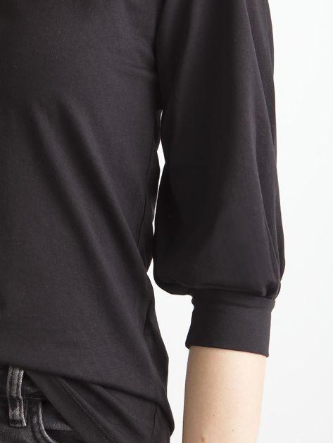 Czarna gładka bluzka z rękawem 3/4                              zdj.                              6