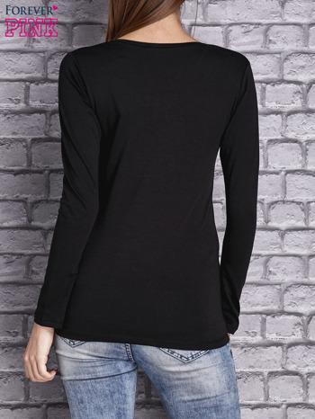 Czarna gładka bluzka ze sznurowanym dekoltem i troczkami                                   zdj.                                  3