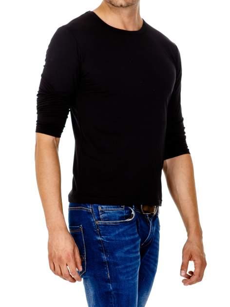 Czarna gładka koszulka męska longsleeve                                  zdj.                                  4