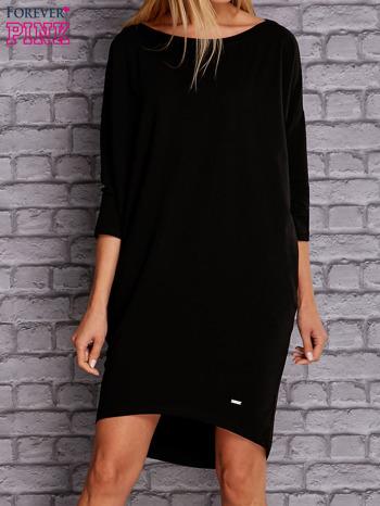 Czarna gładka sukienka oversize                                  zdj.                                  1