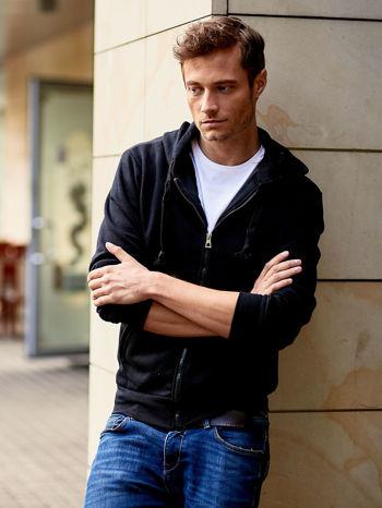 Czarna gruba bluza męska z kapturem i kieszeniami                                  zdj.                                  1