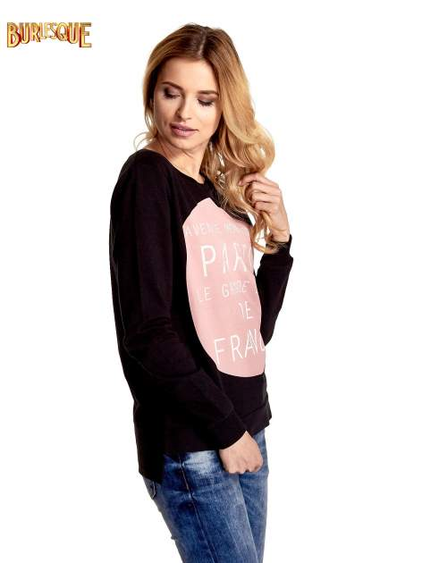 Czarna klasyczna bluza damska z napisem AVENUE MONTAIGNE                                  zdj.                                  4