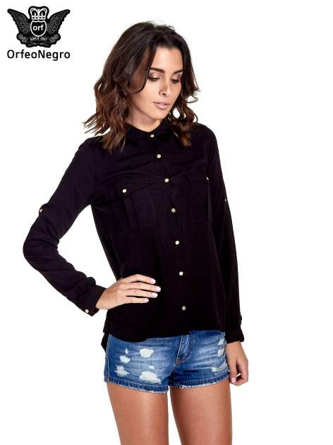 Czarna klasyczna koszula z kieszonkami po bokach