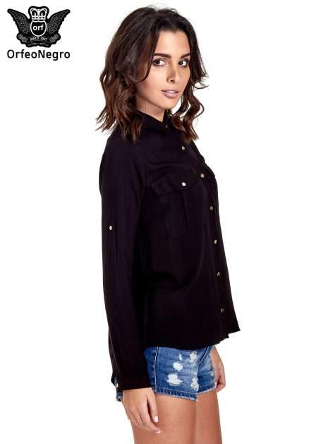 Czarna klasyczna koszula z kieszonkami po bokach                                  zdj.                                  3