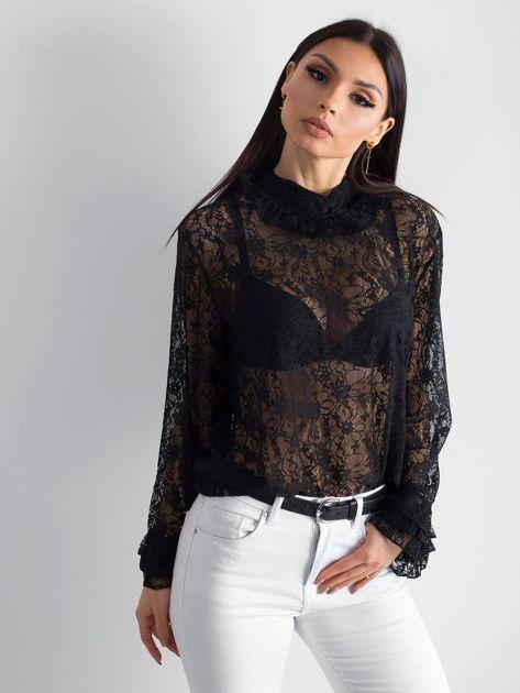 Czarna koronkowa bluzka ze stójką                              zdj.                              3
