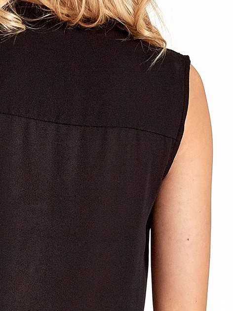 Czarna koszula V-neck z suwakiem                                  zdj.                                  6