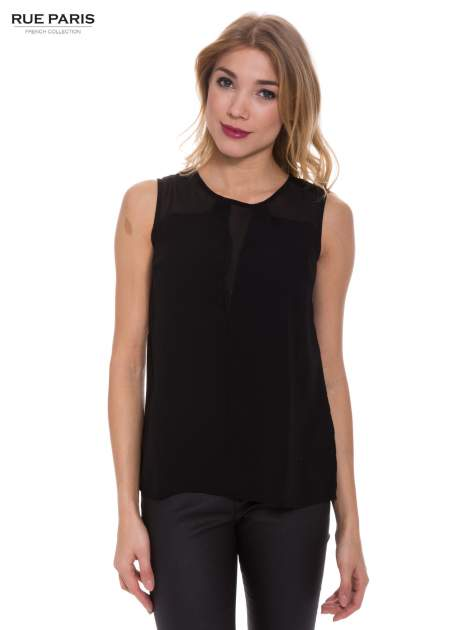 Czarna koszula bez rękawów z tiulową wstawką z przodu                                  zdj.                                  1