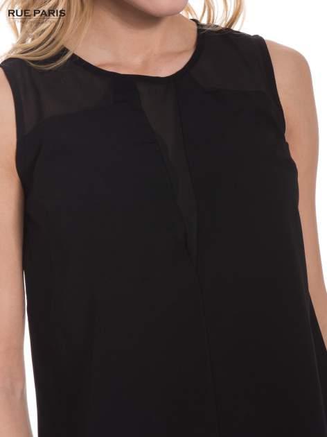Czarna koszula bez rękawów z tiulową wstawką z przodu                                  zdj.                                  4