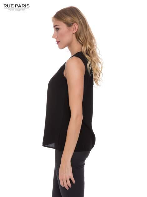 Czarna koszula bez rękawów z tiulową wstawką z przodu                                  zdj.                                  2
