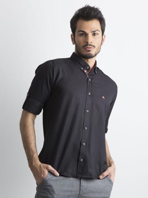 Czarna koszula męska regular fit z podwijanymi rękawami                               zdj.                              1