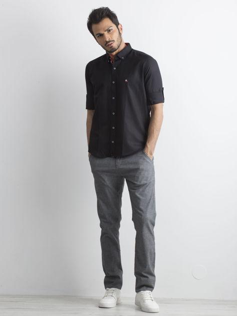 Czarna koszula męska regular fit z podwijanymi rękawami                               zdj.                              4