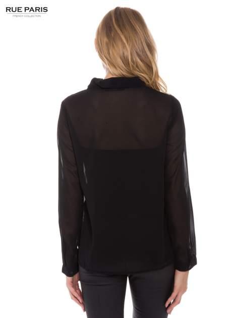 Czarna koszula mgiełka z kokardą                                  zdj.                                  4