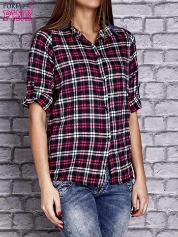 Czarna koszula w kolorową kratę z denimową wstawką                                  zdj.                                  2