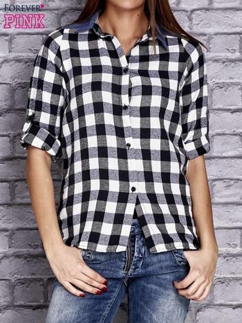 Czarna koszula w kratę z denimową wstawką                                  zdj.                                  1
