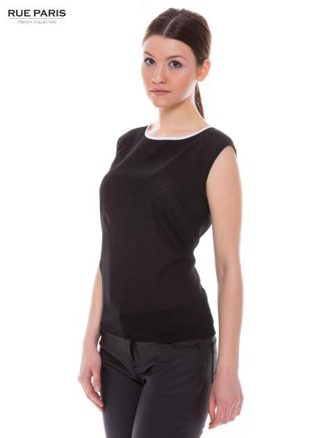 Czarna koszula w kropki z kontrastową lamówką                                  zdj.                                  2