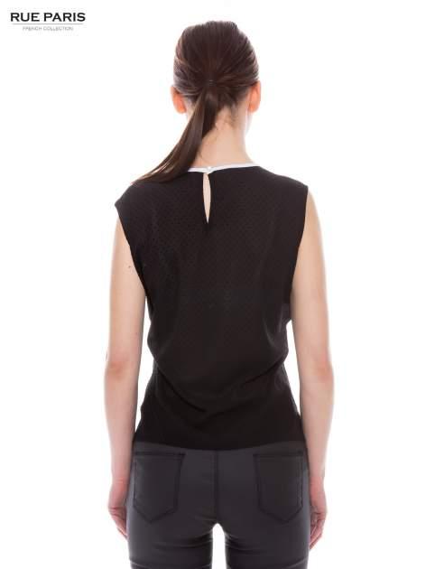 Czarna koszula w kropki z kontrastową lamówką                                  zdj.                                  3