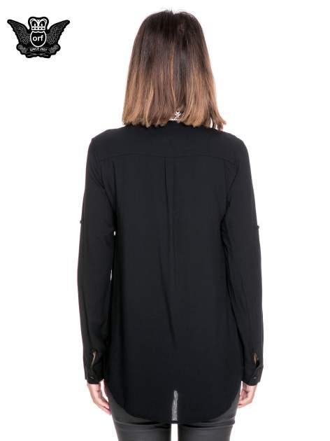 Czarna koszula w stylu boho ze wzorzystą listwą i kołnierzykiem                                  zdj.                                  4
