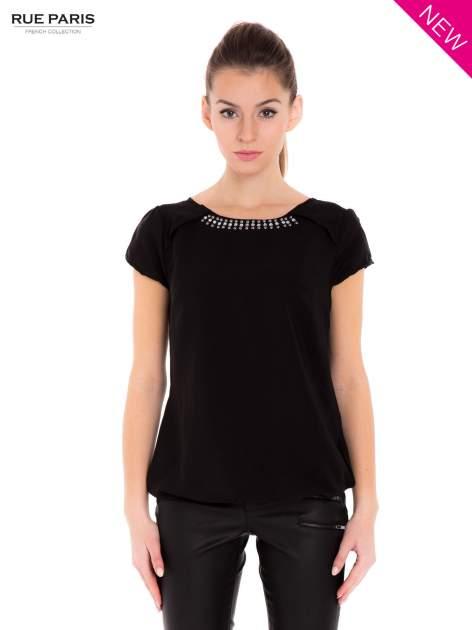 Czarna koszula z biżuteryjnym dekoltem ozdobionym kamieniami                                  zdj.                                  2
