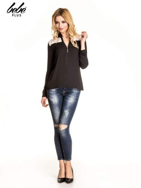 Czarna koszula z koronką i suwakiem                                  zdj.                                  4