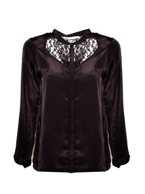Czarna koszula z koronkowym żabotem w stylu wiktoriańskim                                  zdj.                                  1