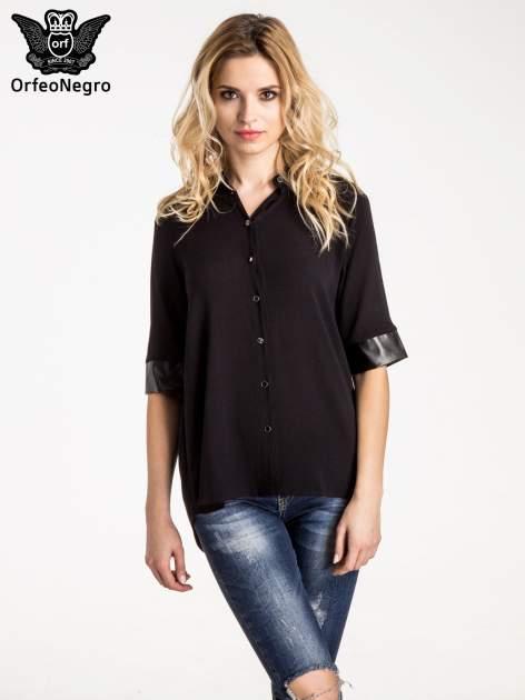 Czarna koszula ze skórzanymi mankietami                                  zdj.                                  1