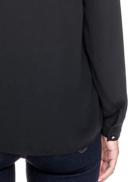 Czarna koszula ze stójką i kieszonkami na guziczki                                  zdj.                                  6