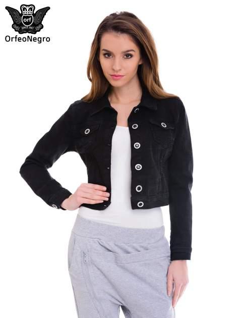 Czarna kurtka jeansowa damska z ozdobnymi guzikami                                  zdj.                                  1