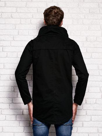 Czarna kurtka męska z asymetrycznym zapięciem                              zdj.                              2