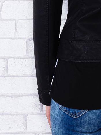 Czarna kurtka ramoneska ze stójką na zatrzask                                  zdj.                                  6