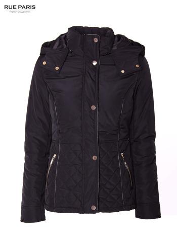 Czarna kurtka z pikowanymi wstawkami i skórzaną lamówką                                  zdj.                                  13