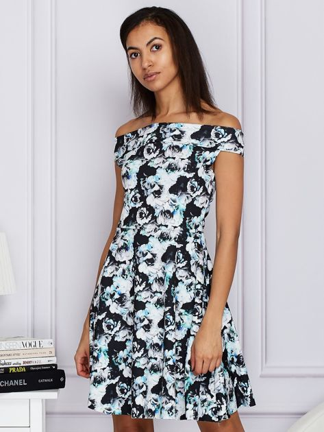 Czarna kwiatowa sukienka z rozkloszowanym dołem                              zdj.                              1