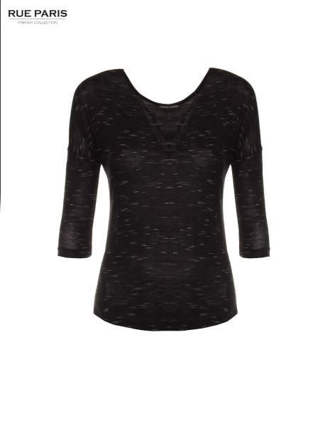 Czarna melanżowa bluzka o obniżonej linii ramion                                  zdj.                                  5