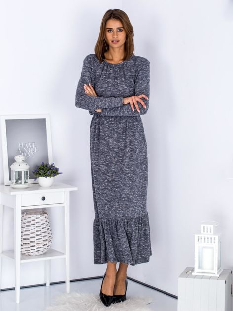 Czarna melanżowa sukienka maxi z falbaną                              zdj.                              4