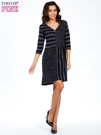 Czarna melanżowa sukienka z motywem pasków                                  zdj.                                  2
