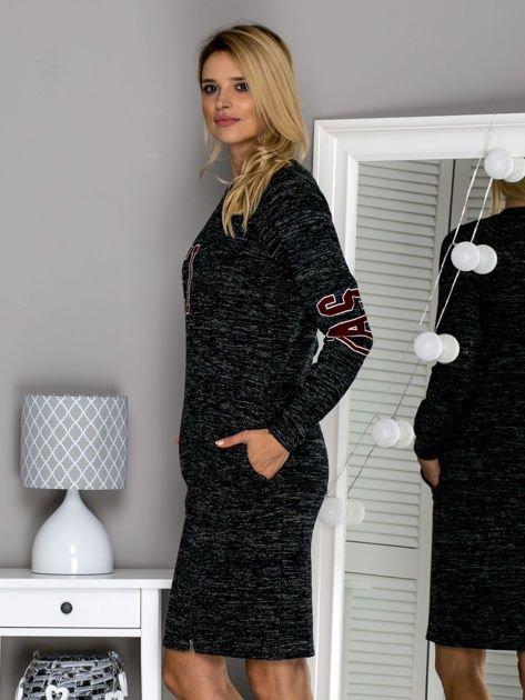Czarna melanżowa sukienka z naszywkami                              zdj.                              5