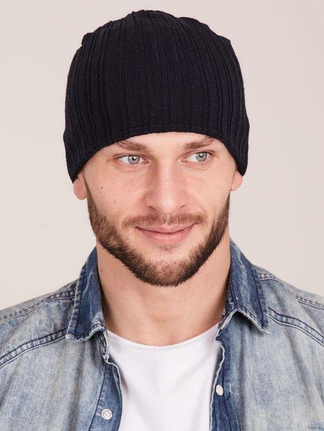 Czarna męska czapka w prążek                              zdj.                              1