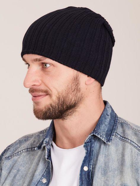 Czarna męska czapka w prążek                              zdj.                              2