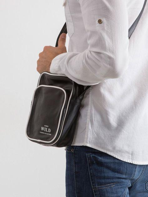 Czarna męska torba z ekoskóry                              zdj.                              3