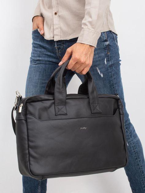 Czarna męska torba ze skóry naturalnej                              zdj.                              3